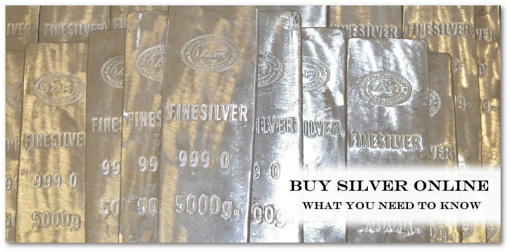 photo of silver bullion bars with buy silver text overlay
